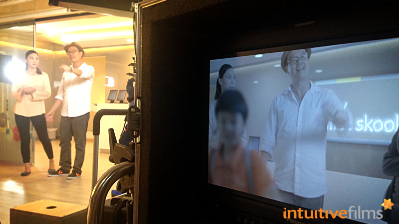 NTUC My First Skool Brand Refresh Video: Behind-the-scenes. Director Dany in action during the 'going home' scene.